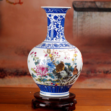 Jingdezhen Porcelain Vase Antique Blue-and-white Bone China Peony Decorated High Quality Ceramic Vase