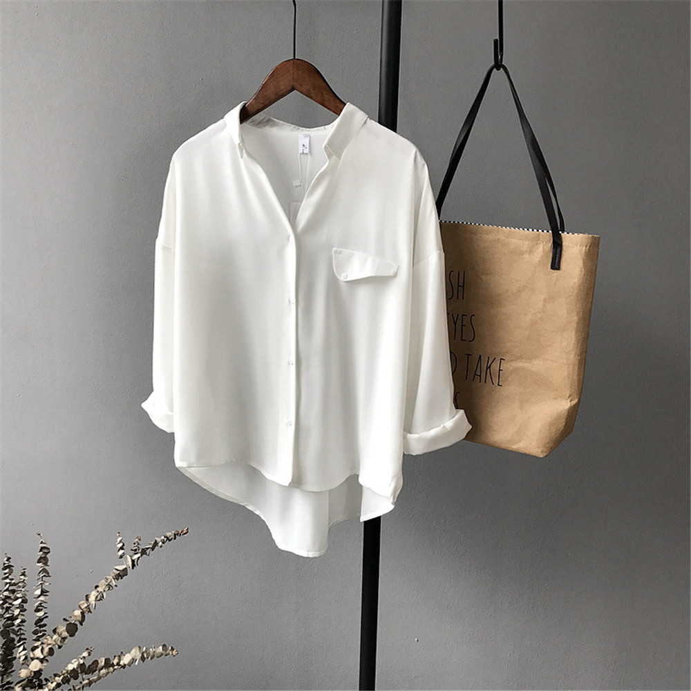 High quality Casual Chiffon white Women blouse shirt oversized Three Quarter sleeve loose shirt office wear casua tops blusas (10)