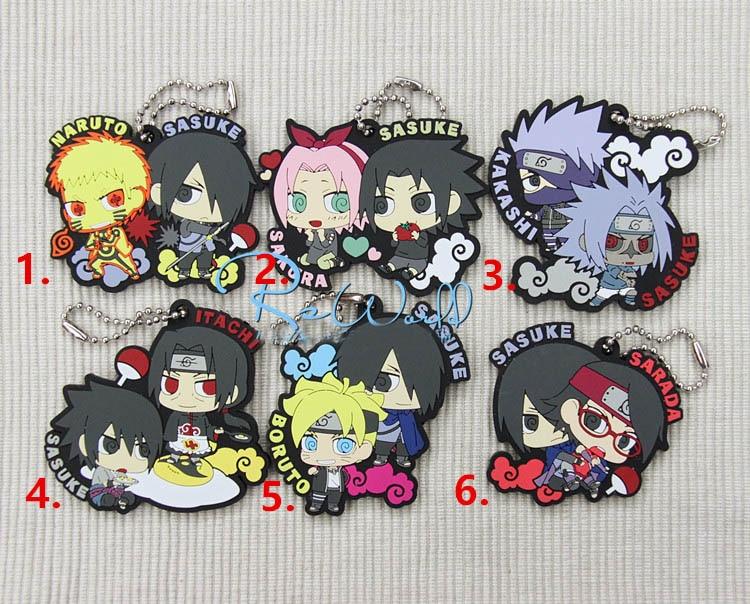 Naruto Sakura Kakashi Sasuke Anime Rubber 2 Ver Rubber Keychain kinomoto sakura kero daidouji tomoyo anime cardcaptor sakura rubber keychain