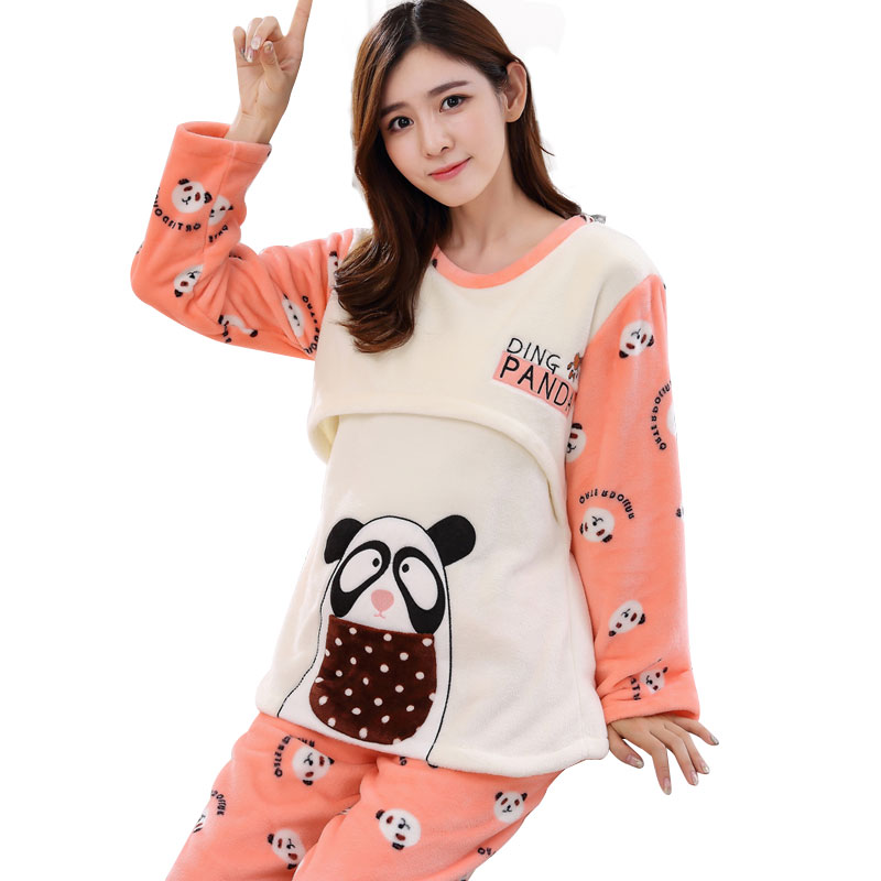 f2a091816d6 Long Sleeve Winter Cute Animal Cartoon Thickening Flannel Breast Feeding  Night Wear Maternity Clothing Pregnancy Pajamas HOT-in Sleep   Lounge from  Mother ...