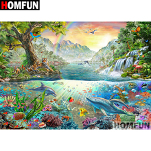HOMFUN Full Square/Round Drill 5D DIY Diamond Painting Ocean scenery Embroidery Cross Stitch 5D Home Decor Gift A07015 homfun full square round drill 5d diy diamond painting moon scenery embroidery cross stitch 5d home decor gift