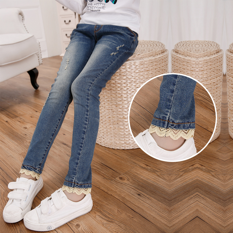 8c58002389 New 2018 hot sell children fashionable spring autumn outfit Teenager girls  denim trousers children take cartoon patchwork pants-in Jeans from Mother    Kids ...