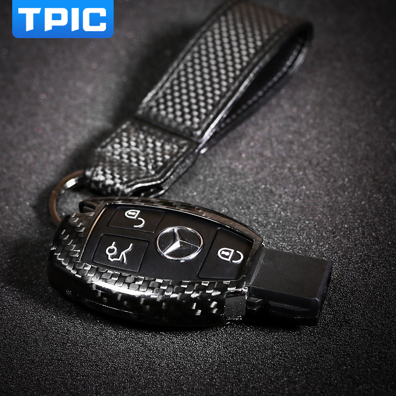 TPIC Carbon Fiber Car Key Cover Case Fob Protector For Mercedes W204 W212 W205 GLA GLK C S E Class Accessories Replacement Shell