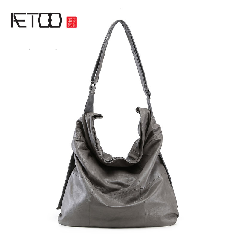 AETOO Europe and the United States leather bag female shoulder Messenger head layer of leather handbags ladies handbags europe and the united states simple geometric pattern hand bag head layer of leather in the long wallet multi card large capacit