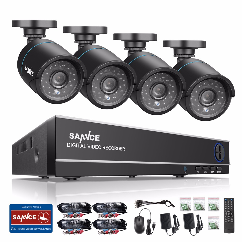 SANNCE Security Camera System 4ch CCTV System DVR Security System 4CH 1TB 4 X 720P Security