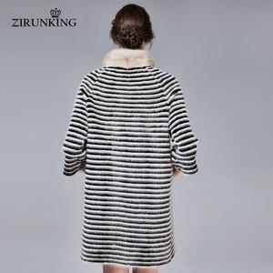 Image 3 - ZIRUNKING Classic Real Mink Fur Coat Female Long Natural Knitted Stripe Parka Autumn Warm Slim Shuba Fashion Clothing ZC1706