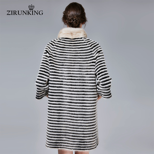 Image 3 - ZIRUNKING abrigo de piel auténtica de visón clásico para mujer, Parka larga de punto Natural a rayas, Otoño, cálido y delgado, ropa de moda, ZC1706