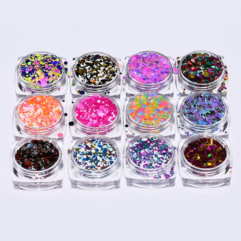 12 Boxes/set Round Nail Glitter Sequins Dust Mixed Grids 1/2/3mm DIY Charm Polish Flakes Decorations Manicure Tips Kit