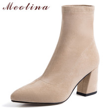 Meotina Autumn Ankle Boots Women Real Leather Thick High Heels Elastic Boots Slim Stretch Pointed Toe Shoes Lady Winter Size 39 meotina women ankle boots high heels pointed toe autumn shoes 2018 rhinestone thick heels winter boots yellow big size 34 43 new page 8