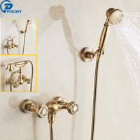 POIQIHY Wall Mounted Shower Mixers Dual Handle Hot and Cold Water Handheld Shower Faucet Kit