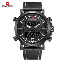 NAVIFORCE Dual Display Men Watches Digital Display Watch Leather Waterproof Wristwatch Military Male Clock Relojes Para Hombre