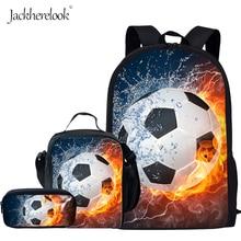 Jackherelook 3D Fire Ice Foot Ball Soccer Printed Middle School Students Backpacks Large 3PCS Set Kids Boys Schoolbags Satchels