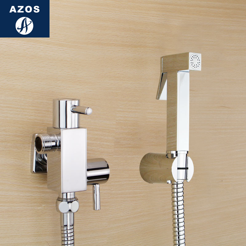Azos Bidet Faucet Pressurized Sprinkler Head Brass Chrome Cold Water Two Function Washing Machine Cleaning Bathroom Square
