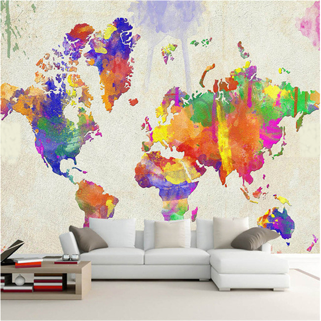 Custom 3d world map retro nostalgia large mural painting the living custom 3d world map retro nostalgia large mural painting the living room sofa background wallpaper abstract gumiabroncs Gallery