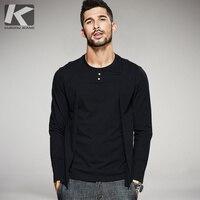 KUEGOU New Autumn Mens Casual T Shirts False Two Pieces Black Brand Clothing Man S Long