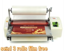 2019 New hot and cold roll laminating machine 350mm with 4 rubber rollers + 3 rolls film