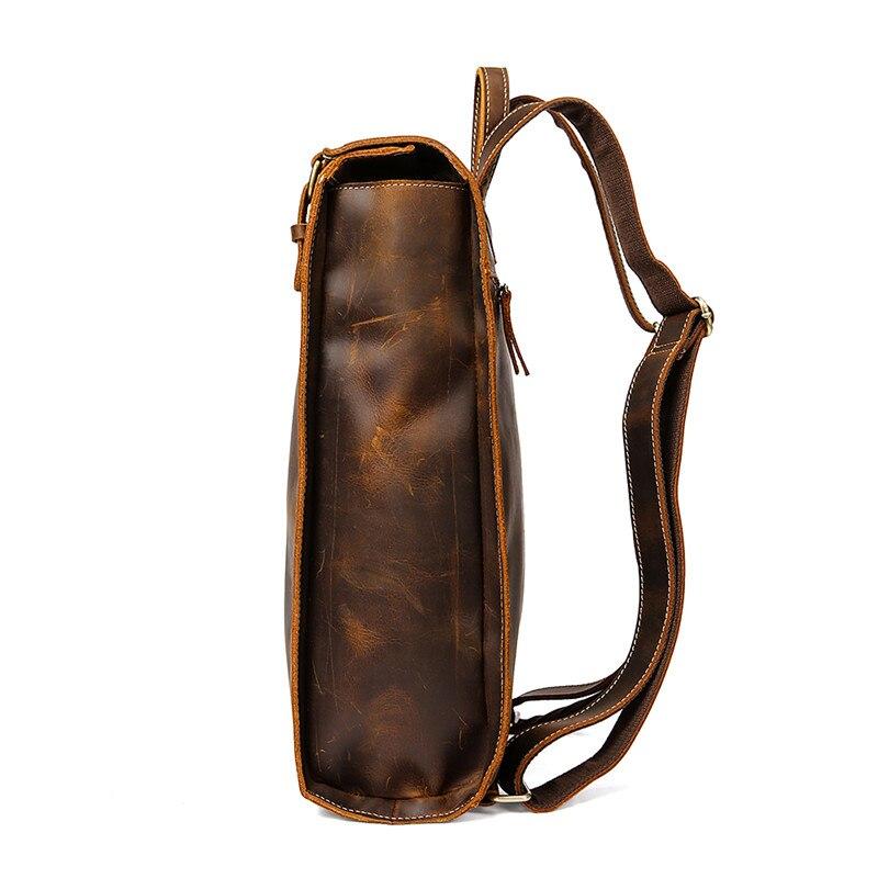 Sac à dos de mode en cuir de vache haut de gamme sac à dos de voyage pour hommes d'affaires sac en cuir de grande capacité pour étudiants sac à dos de Magazine - 2