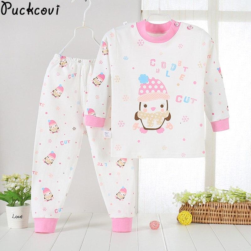 Pijamas Kids Pijama Cotton set Baby boy girl printing Pajamas T-shirt+pants 2-pieces sleepwear age 4Y-12Y shoulder opening