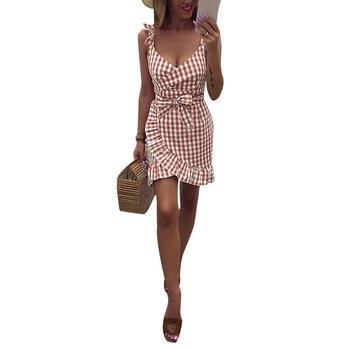 Moda verano plisado Ruffled Spaghetti Strap espalda descubierta V cuello Vestidos Sexy fiesta mujeres Bow Bodycon Slim Beach Mini Vestidos