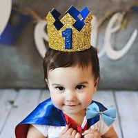 Corona de Príncipe brillante dorado para bebé, sombrero de cumpleaños para niño, decoración de fiesta de cumpleaños, accesorios para fotos