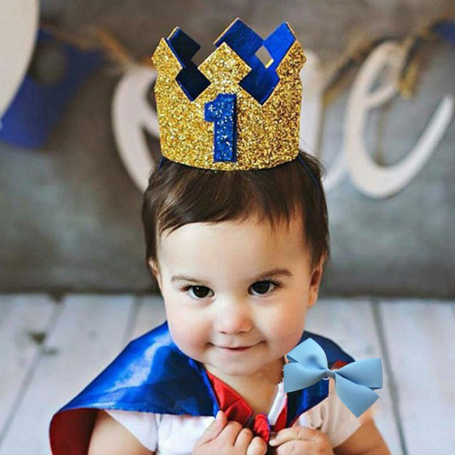 Glitter Prince Crown Gold Blue Baby 1st 2nd 3rd Year Old Birthday One Boy Hat