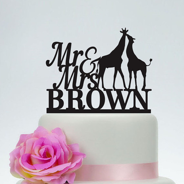 Customized Giraffe Wedding Cake Topper Mr And Mrs With Surname Personalized Acrylic