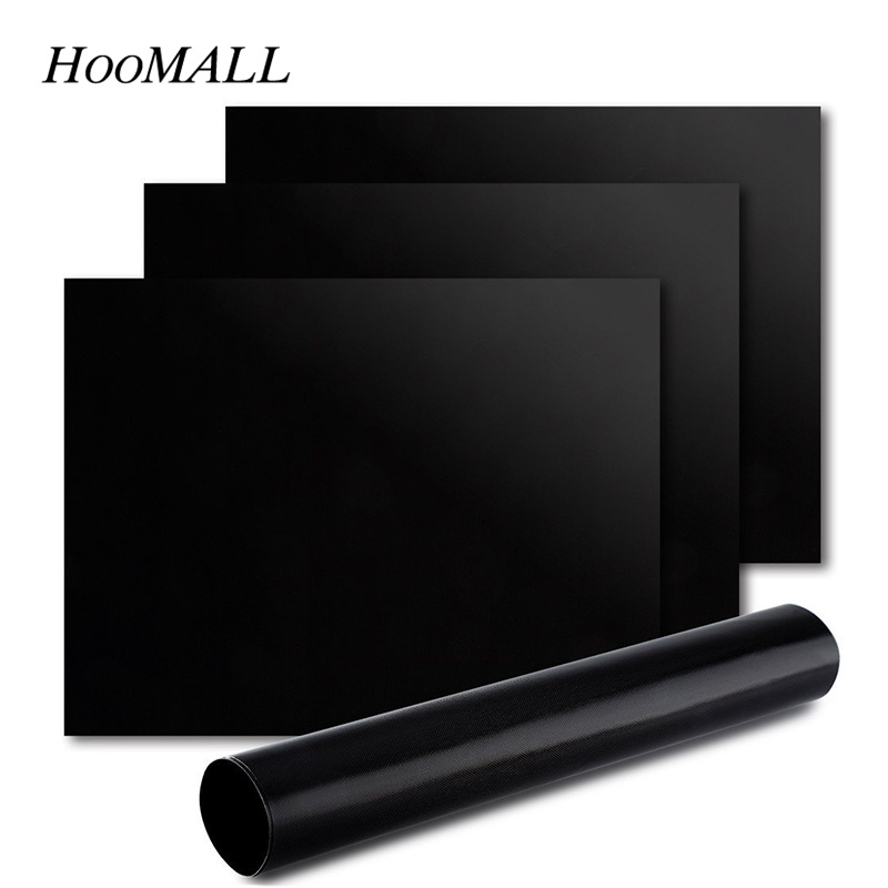 Hoomall 1Pc Non-Stick Heat-Resistant BBQ Gril Mat Teflon Fiber 40x33cm Resuable Barbecue Pad Oven Mat Kitchen Cooking Tool