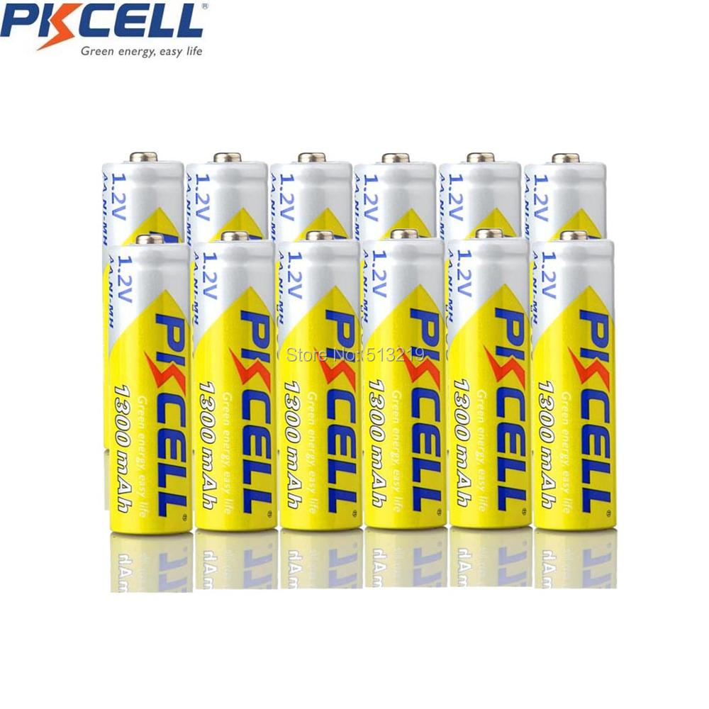 12PCS PKCELL 1.2v 1300mah NIMH AA Rechargeable Battery 2A NI-MH 2A R6 flashlight Batteries for Flash and sweeper navigation image