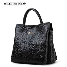 Fashion Cowhide Flower Embossed leather women's handbags Rose pattern imprint genuine leather Tote ladies shopping bag