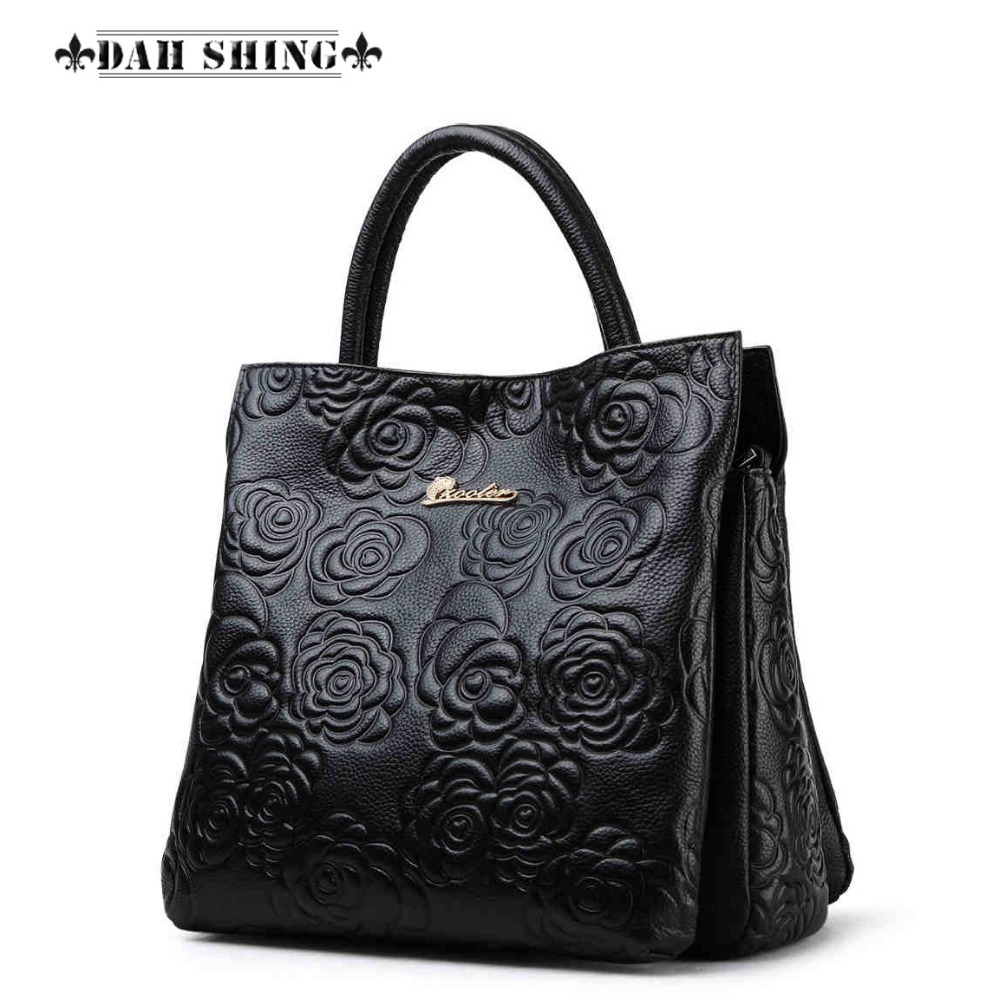 Fashion Cowhide Flower Embossed leather women's handbags Rose pattern imprint genuine leather Tote ladies shopping bag for ipad air glittery powder imprint butterfly flower leather smart casing rose gold
