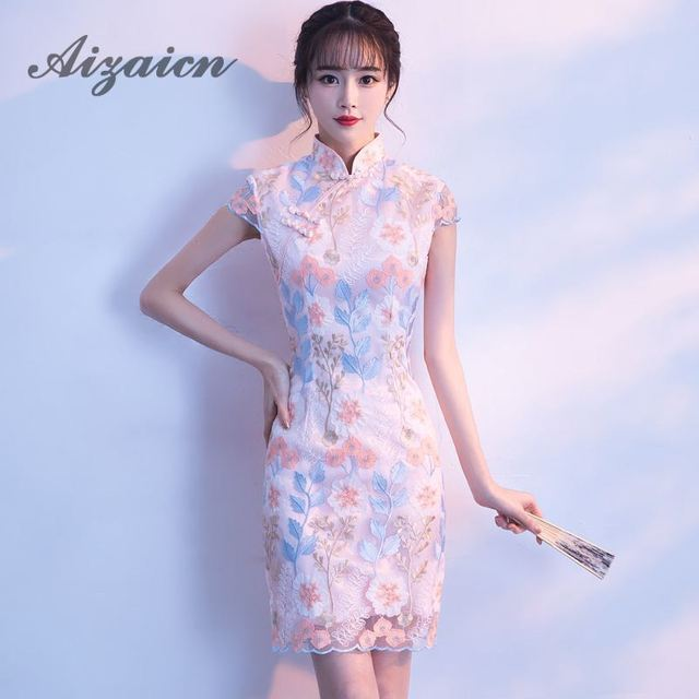 28254afdf7 US $61.2 |Sexy Chinese Wedding Dress Qipao Mini Cheongsam Fashion Short Qi  Pao Traditional Women Evening Gown China Bride Traditions-in Cheongsams ...