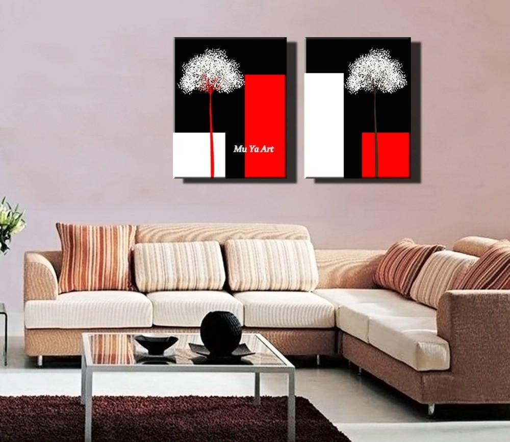 Décoration Salon Moderne Noir Et Blanc rouge noir blanc fleur motifs impressions sur toile