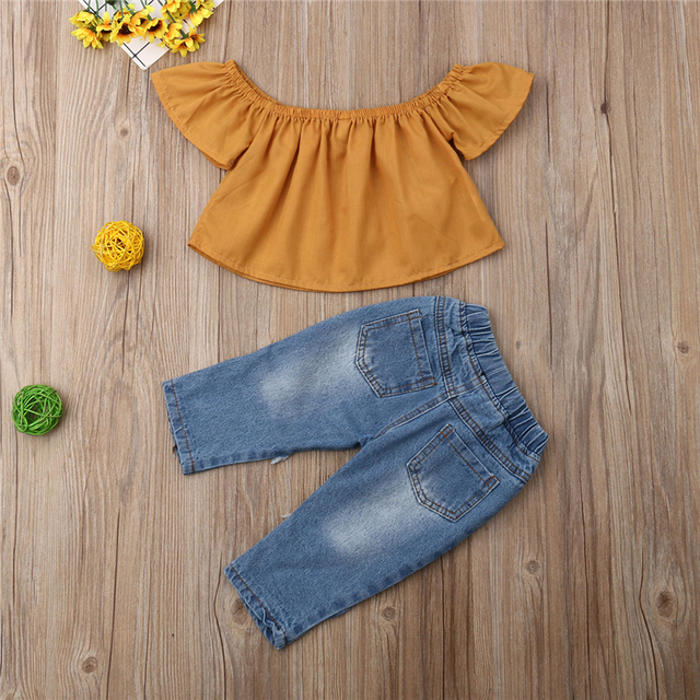 Off Shoulder Short Sleeve Shirt Tops Sunflower Jeans Pants Costume Clothing Outfits 2PCS Toddler Kids Baby Girls Clothes Set