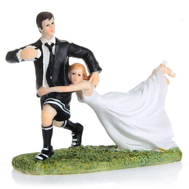 Free Shipping Cheering Bride and Soccer Loving Groom Figurine Cake ...