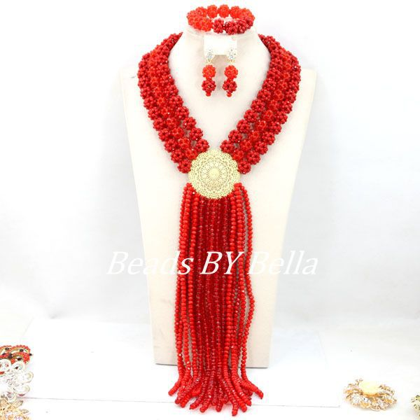 Fashion Red Wedding African Beads Jewelry Set Luxury Statement Jewelry Sets 2017 Bridal Necklace Beads Set Free Shipping ABY405Fashion Red Wedding African Beads Jewelry Set Luxury Statement Jewelry Sets 2017 Bridal Necklace Beads Set Free Shipping ABY405