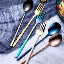 Нержавеющая сталь цвета радуги ложка с длинной ручкой и вилки совок для супа мороженое чайная, кофейная ложка домашняя Посуда столовая посуда столовые приборы