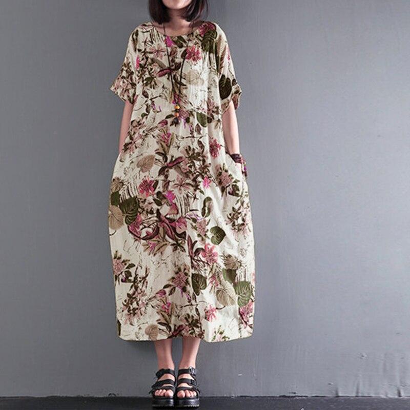 2018 ZANZEA Summer Women Floral Print Boho O Neck Short Sleeve Loose Party Cotton Linen Midi Vestido Casual Dress Plus Size