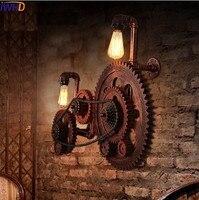 Лофт Стиль промышленных Творческий Дерево Шестерни Винтаж настенный светильник для дома под старину водопровод лампа прикроватная Edison бра