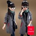 Casaco De Lã Da Menina de varejo 2016 Meninas Casaco de Inverno meninas novas Crianças Moda outwear Blusão Jaqueta de Algodão cor sólida