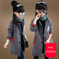 Retail Girl Wool jacket 2016 Winter new girls Fashion outwear Children Windbreaker Girls Coat Jacket Cotton solid color