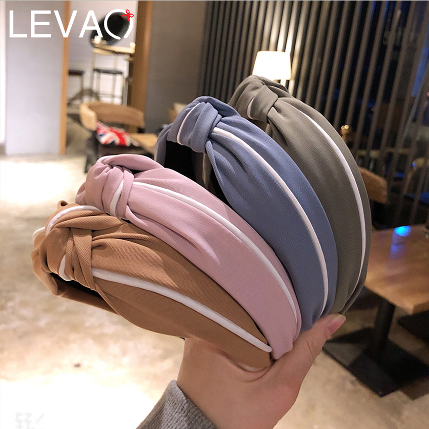 Levao White Stripe Knotted Headband For Women 2019 New Cotton Hair Bands Simple Hair Bow Hairband Hair Hoop Accessories