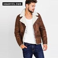 Manvelous куртка из искусственной кожи для мужчин Мода 2017 г.,-талия с длинным рукавом в европейском и американском стиле из флока на молнии мужск...