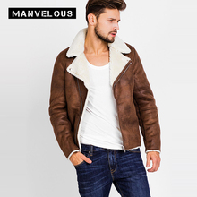 Manvelous PU Jacket Men 2017 Fashion Solid Wide-waisted Long Sleeve European & American Flocking Zipper Mens Brand Jackets Coats(China)