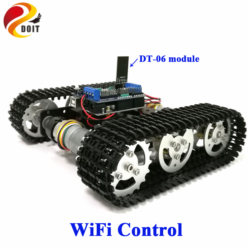 DOIT WiFi Control Smart Tank Car Chassis Crawler Tracked Robot Competition compatible with Arduino UNO Motor Drive DIY diy tracked robot frame model 7 dof abb manipulator tk3a tracked chassis with motor servo control board and xd 229 auno r3