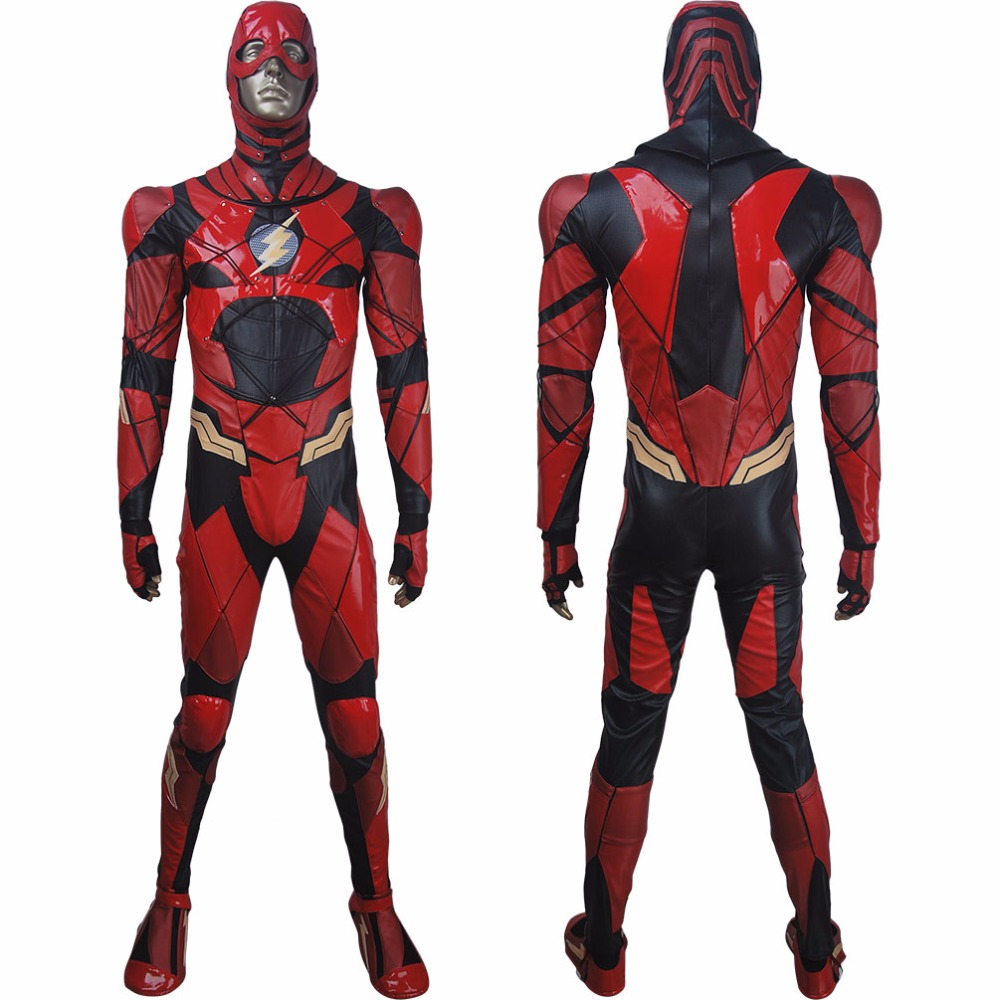 Men Justice League 2017 the Flash Barry Allen cosplay halloween costume full set superhero Flash suit make-up outfit xmas gift