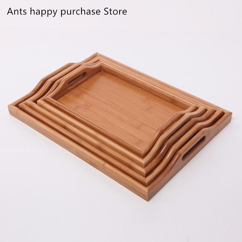 Intellective Bamboe Hout Rechthoekige Lade Gedroogd Fruit Snacks Trays Gerechten Thee Lade Desktop Storage Trays Keuken Bar Benodigdheden