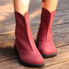 Women Genuine Leather Ankle Boots Black/Purple/Brown Tactical Boots Round Toe Lace-up Flat Shoes 2015 Winter Shoes Brand (x1504)