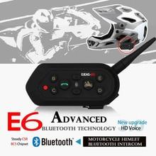 Motorcycle Helmet Intercom Headset Bluetooth interphone E6 1200M 6 Riders Wirelss Walkie Talkie For Skiing Cycling Communicator