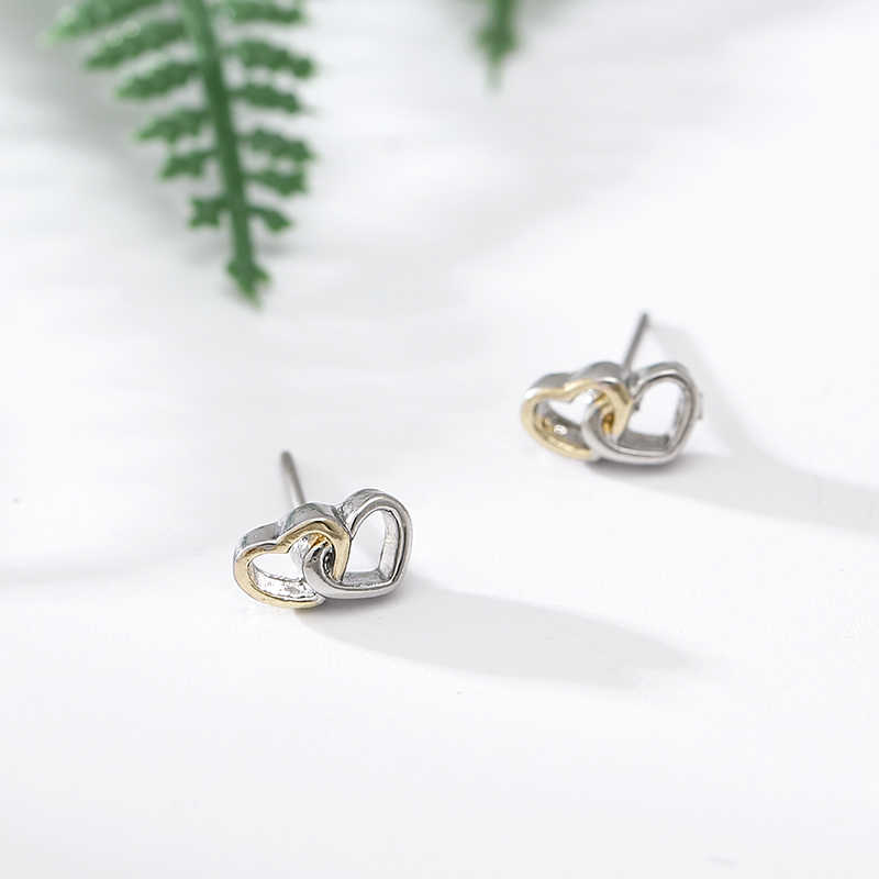 Boosbiy Silvery Fashion Sample Heart To Heart Stud Earrings For Women Girls  Lovely Heart Pandora Earrings