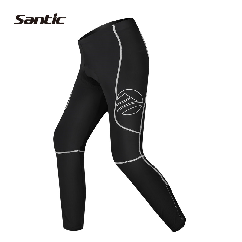 Santic Spring MTB Cycling Pants Men Long Pants Cycling Compression Gel Padded Black Breathable Pants Cycling Summer S15164802H
